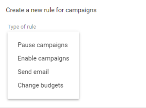 Types of automated rules in Google adwords