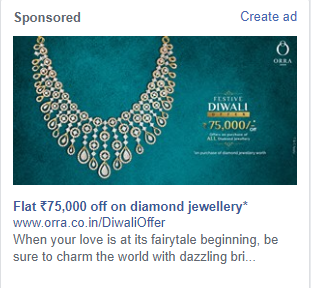 Example Facebook Ads showing Jewelry