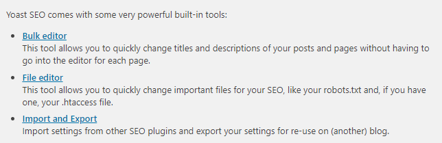 Advanced tools option to edit bulk posts and htaccess file