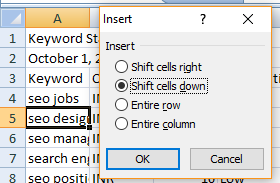 Excel shortcut Ctrl++ of cell