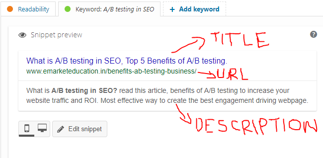 Snippet review given by Yoast SEO plugin